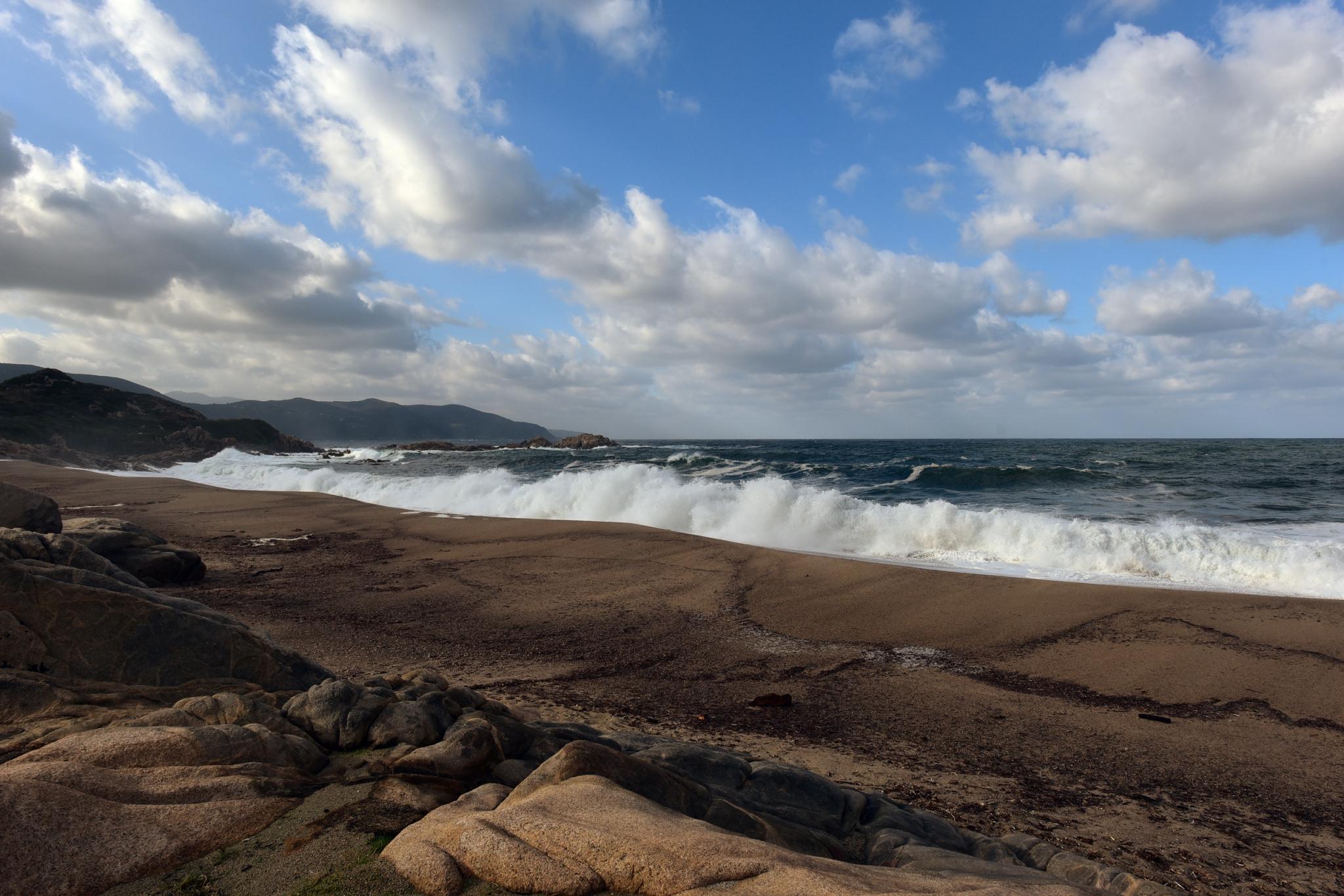 BAUER Jean-Maurice - Expo 2017 - Papier 4 - Mer agitée Pointe d'Omigna (Corse)